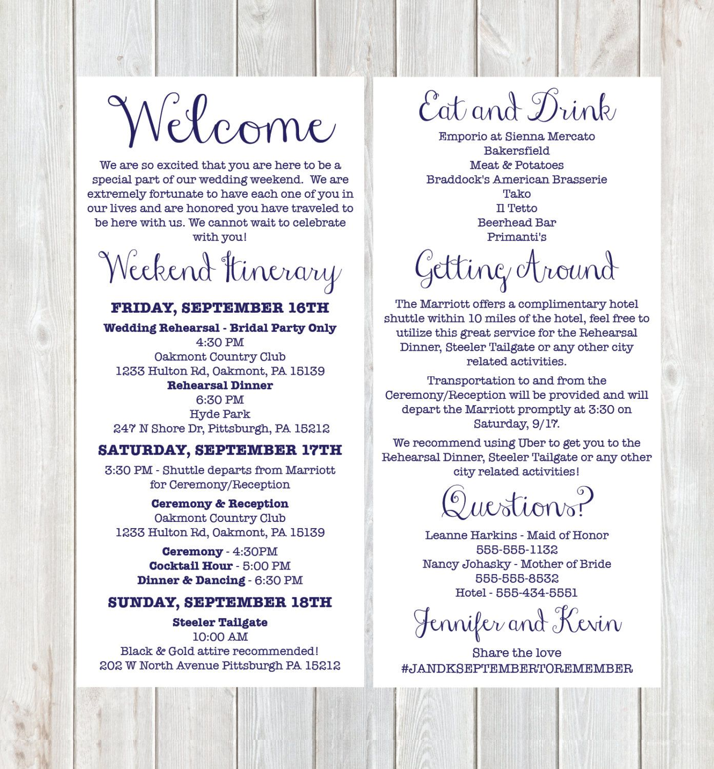 Wedding Itinerary Weekend Itinerary Wedding Welcome Welcome