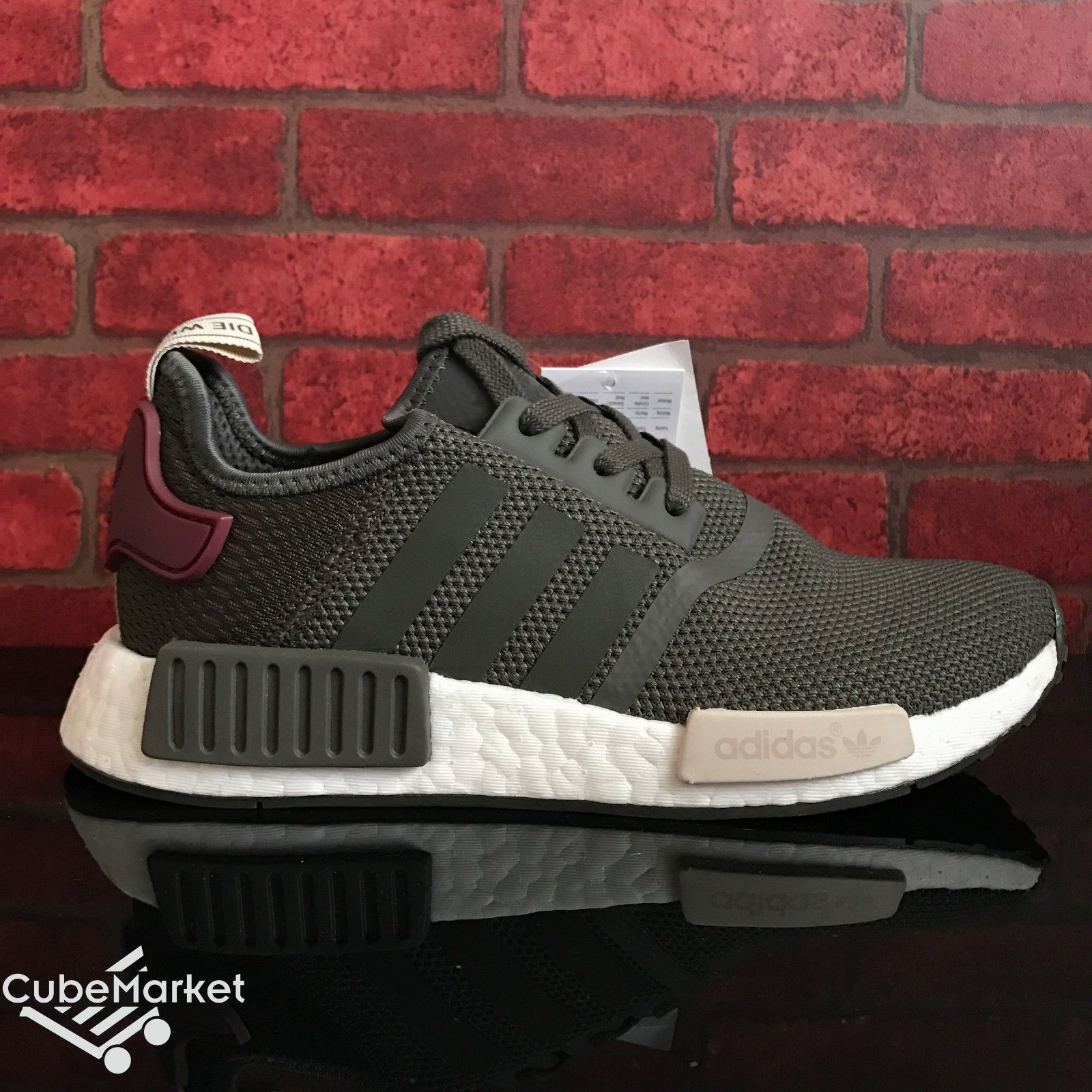 Adidas NMD R1 Runner Womens Utility Grey Olive Maroon BA7752 Size 5-9.5