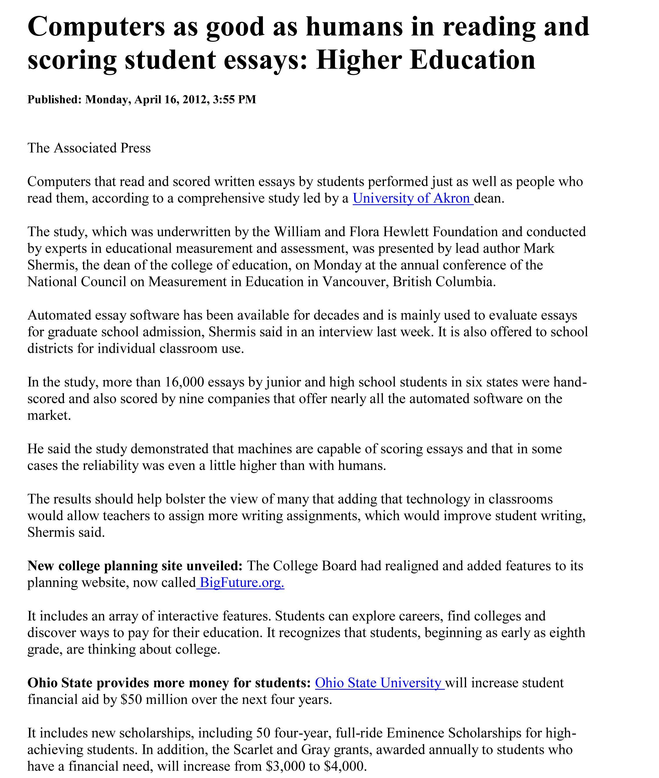 essays on higher education