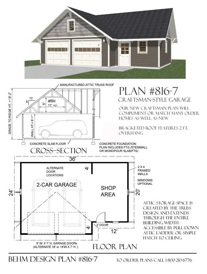 2 Car Craftsman Style Garage With Shop Attic Plan 816 7 36 X 24 Garage Design Plans Garage Workshop Plans Garage Design