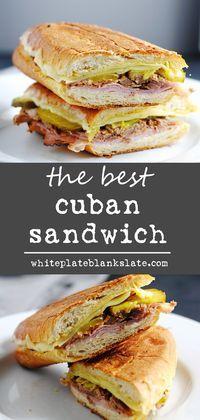 The best Cuban sandwich   white plate blank slate