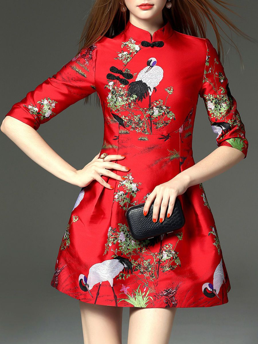 Red stand collar vintage jacquard sleeve mini dress tailored