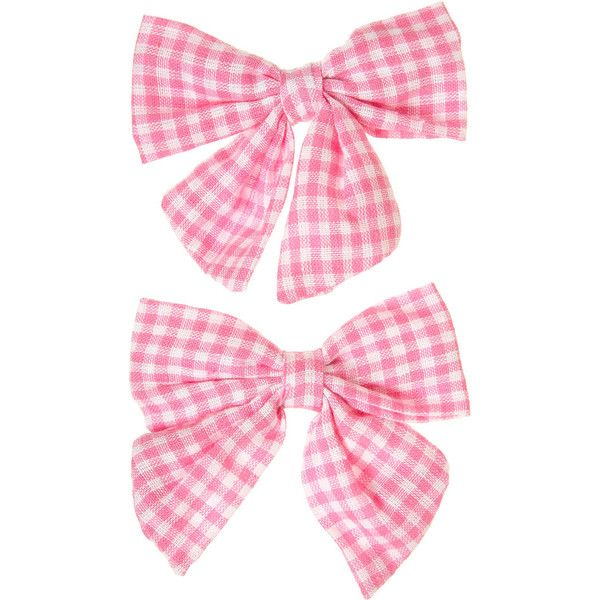 Pink Gingham Bow Hair Clips (88 ARS) ❤ liked on Polyvore featuring accessories, hair accessories, bows, fillers, pink, women, pink hair accessories, bow hair clip, barrette hair clips and pink hair clips