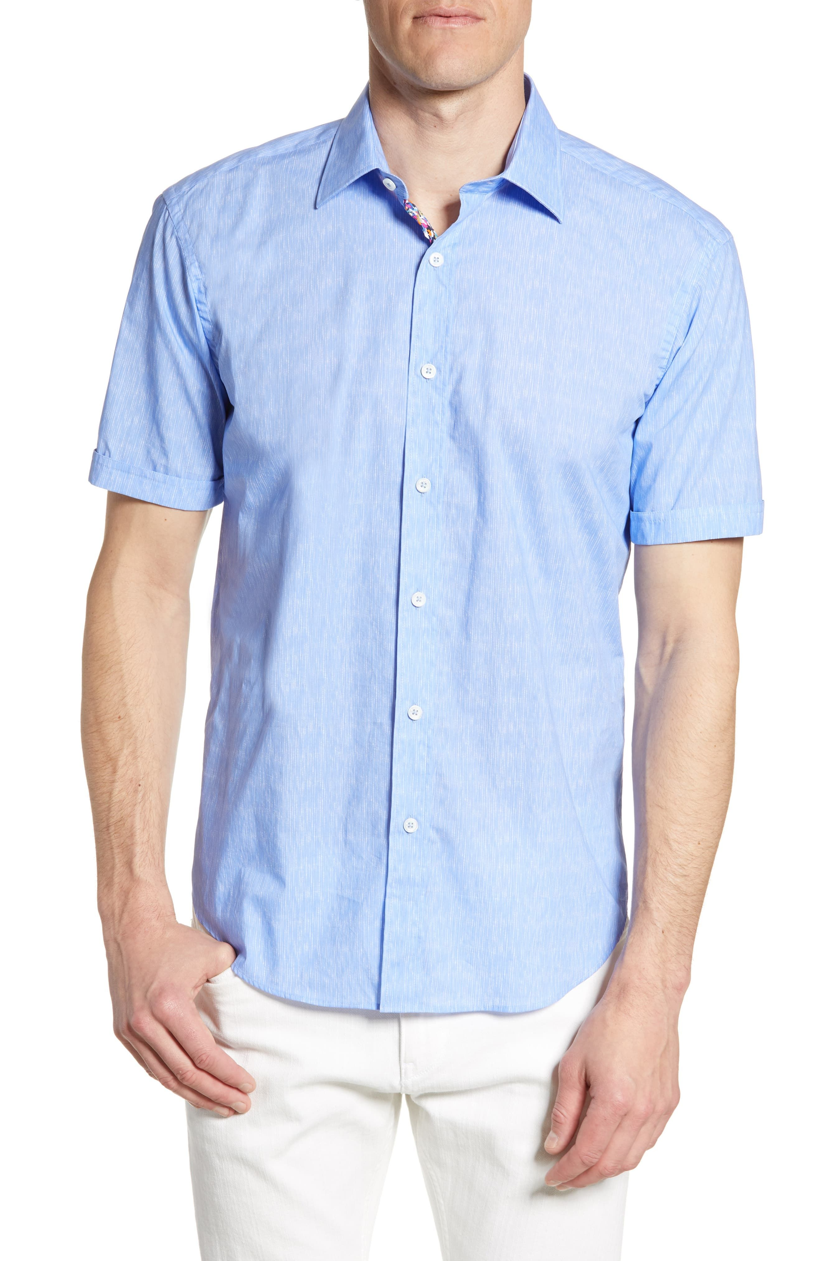 Bugatchi Mens Short Sleeve Shaped Fit Pin Striped Sport Shirt