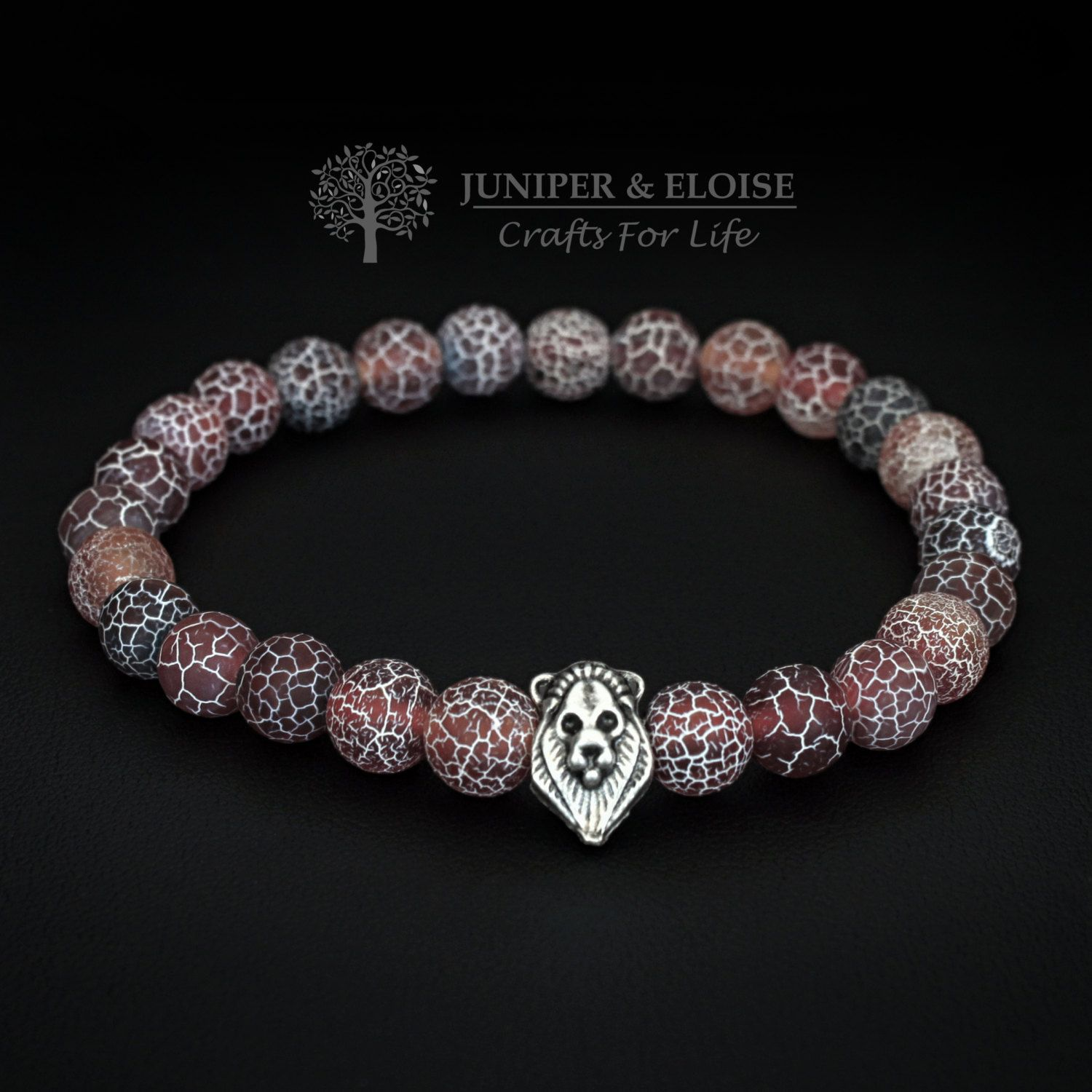 Mens bracelet with mm red matte crackle agate stone and lion