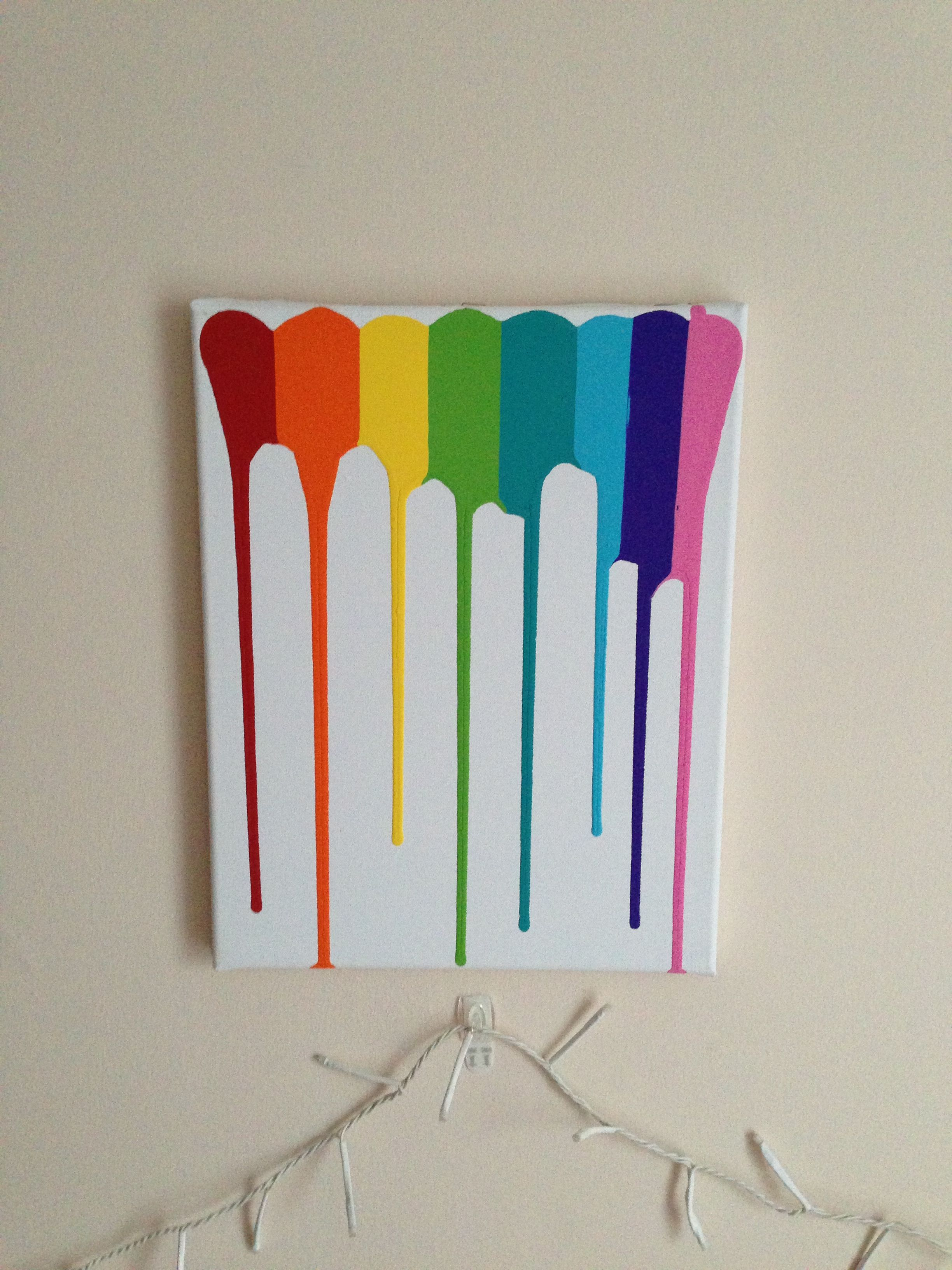 Rainbow Drip Painting Change The Colors And Canvas Size To Your Preference Add Large Drops Of Acrylic Paint To The Colorful Art Rainbow Paint Drip Painting