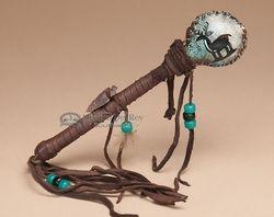 """$40.95 Painted Native American Rawhide Rattle 7"""" -Deer  (r404)"""