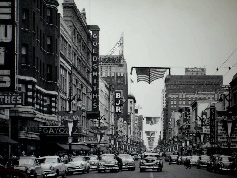 Main Street Memphis, 1940's. Historical Photography
