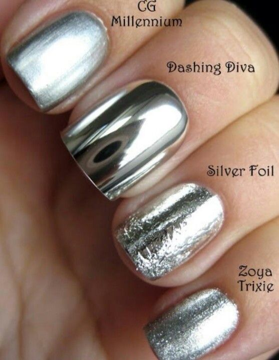 Metallic color tone nail polish, to make your nails look like covered in silver.  #silver #fashion #style #manicure