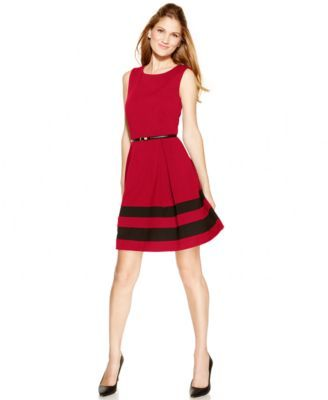 Calvin Klein Petite Colorblocked Belted A Line Dress