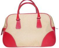 95302adc94d3a2 Prada Mint Vintage Bowling Bag/Satchel High End Bohemian Has Lock & Dust  Rare Color Satchel in beige canvas and true red textured leather