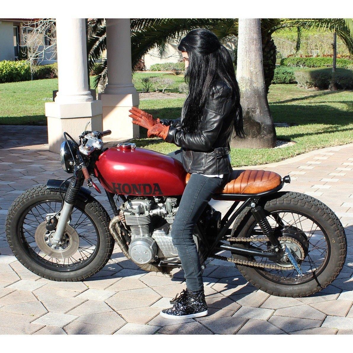 Danielle Vee Riding Here Honda Cb550 Cafe Racer [ 1192 x 1192 Pixel ]