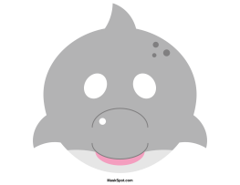Dolphin mask templates including a coloring page version of the