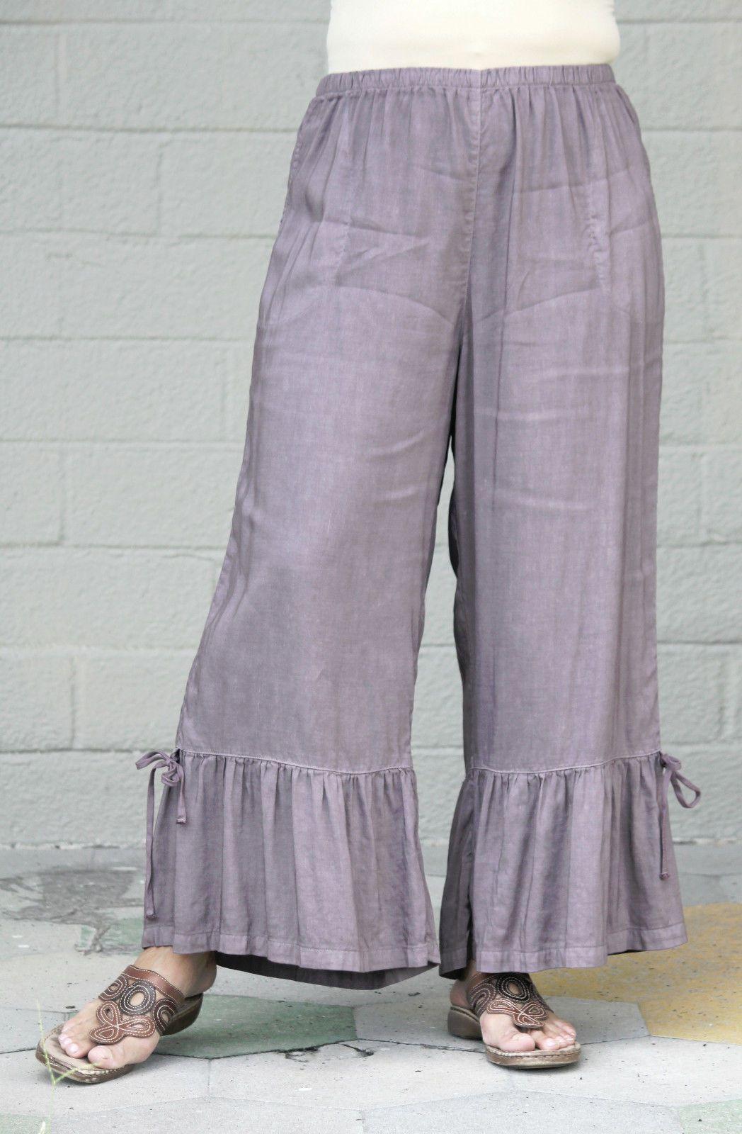 Kleen Linen Rayon Breezy Pant Wide Ruffle Bloomer Pants 1x 2X 3X White | eBay