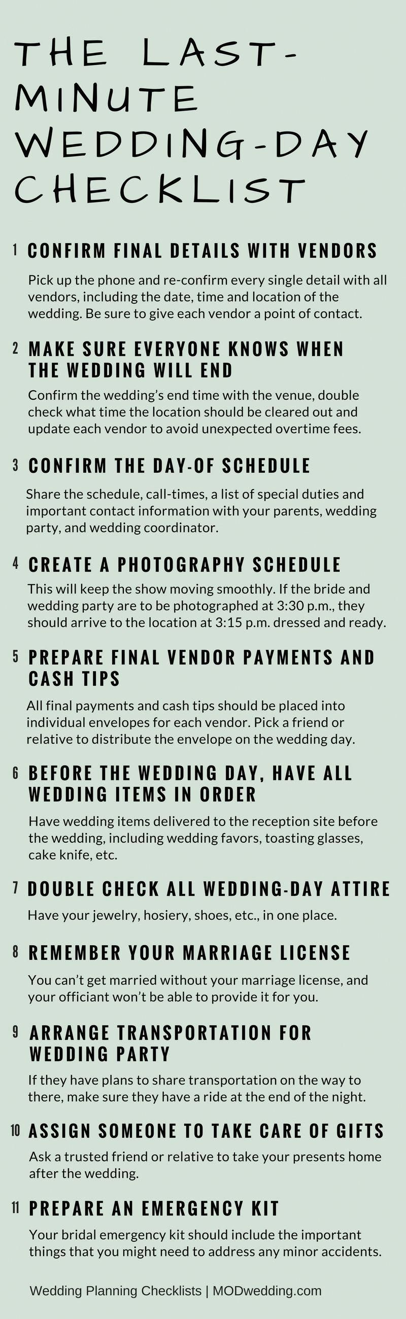 the last minute wedding day checklist visit modwedding com for more