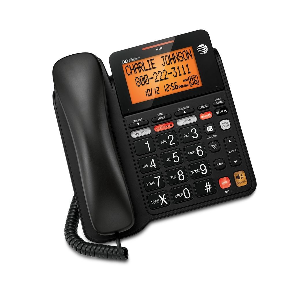 AT&T CD4930 Corded Phone with Answering System and Caller ID Telephones & Accessories Black