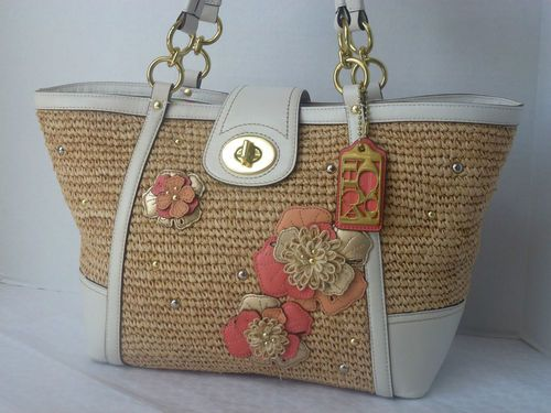 Coach Hamptons Weekend Straw Flower Applique Tote Bag Purse New