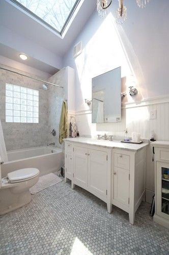1920s White Marble Bathroom Makeover - traditional - bathroom