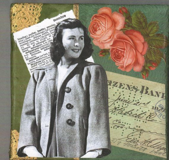 Collage on Canvas  She's On Top of the World by rhodyart on Etsy