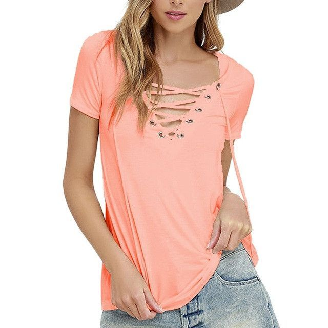NIBESSER Plus Size Deep V-Neck T-shirts Women Solid Short Sleeves Lace Up Tee Tops Female Summer Casual Shirt Tops 2017 New