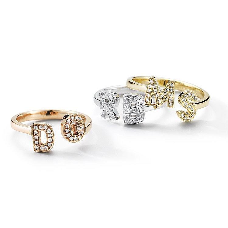 9509de2f77bdf1 Gold Diamond Rings, Yellow Gold Rings, Diamond Jewelry, Initial Jewelry, Initial  Rings