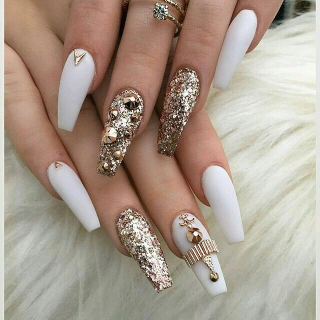 Stunning Gold And White Coffin Shape Nails Nails Pinterest