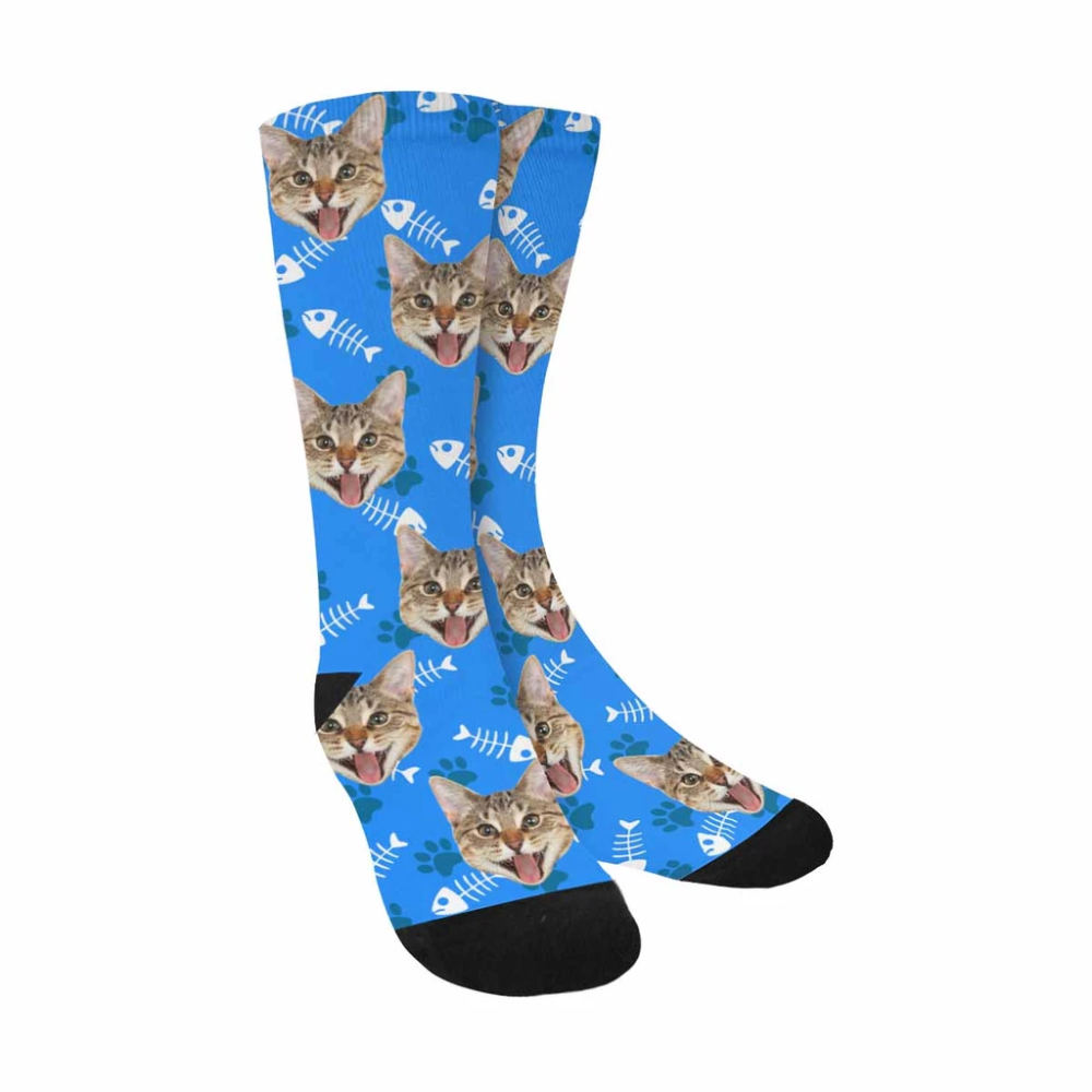 Custom Face Cat Sublimated Crew SocksOne Size Crew