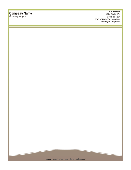 A Printable Letterhead Design With A Thin Olive Green Lined Border