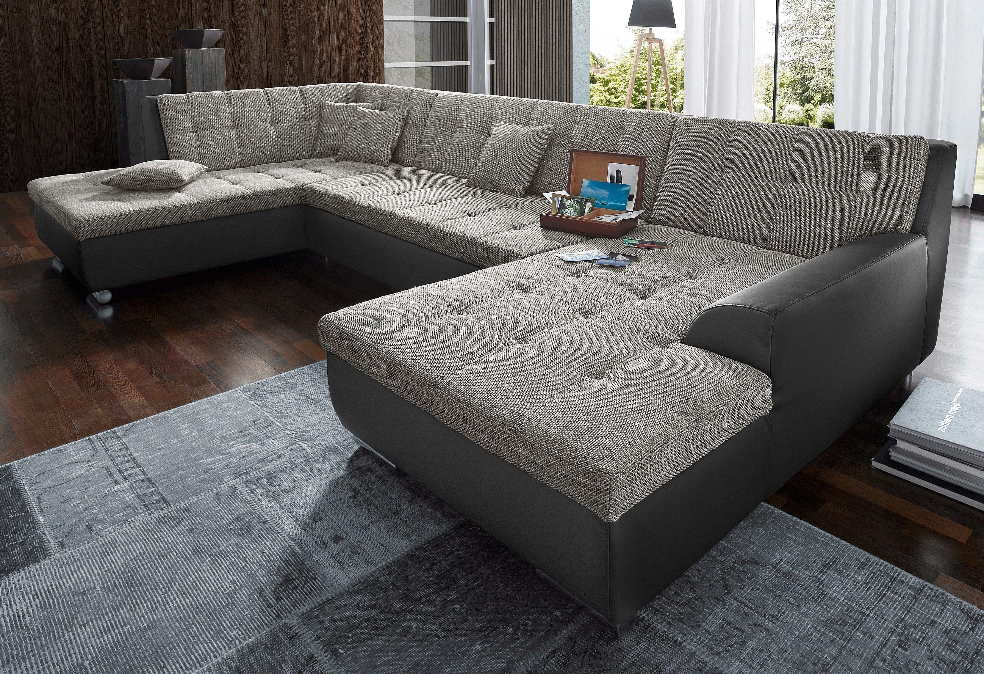 Fabelhaft Sofa Mit Recamiere Galerie Von Xxl-wohnlandschaft Schwarz, Rechts, Bettfunktion, Fsc®-zertifiziert, Yourhome Jetzt