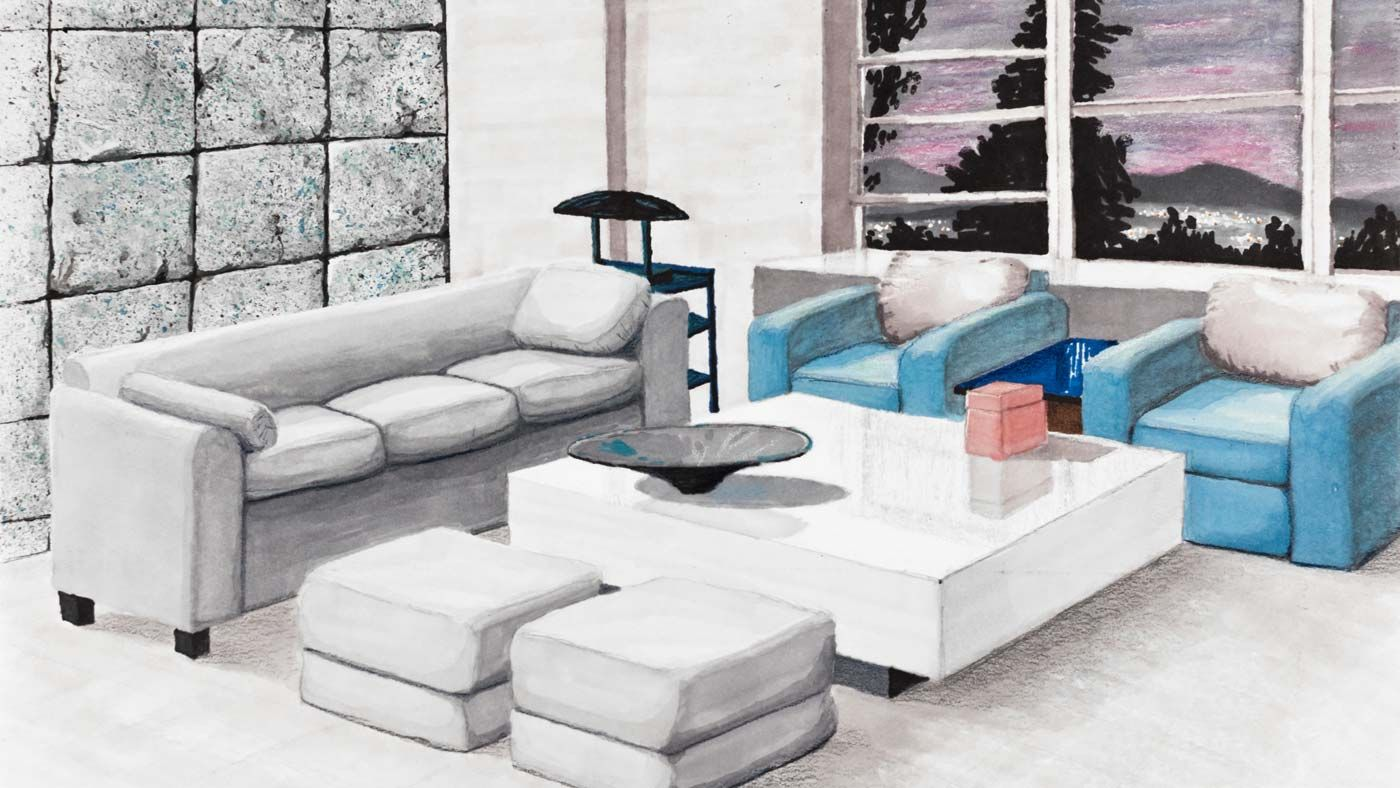 Concept Rendering Architectural Perspective Interior Living Room .