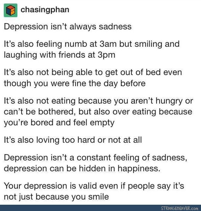 tumblr tuesday 8 2 quote crazyyy ) pinterest depressionfunny tumblr post\u003c\u003c\u003c how is this funny? depression is a mental illness, a serious thing, not a hilarious joke you tell your friends
