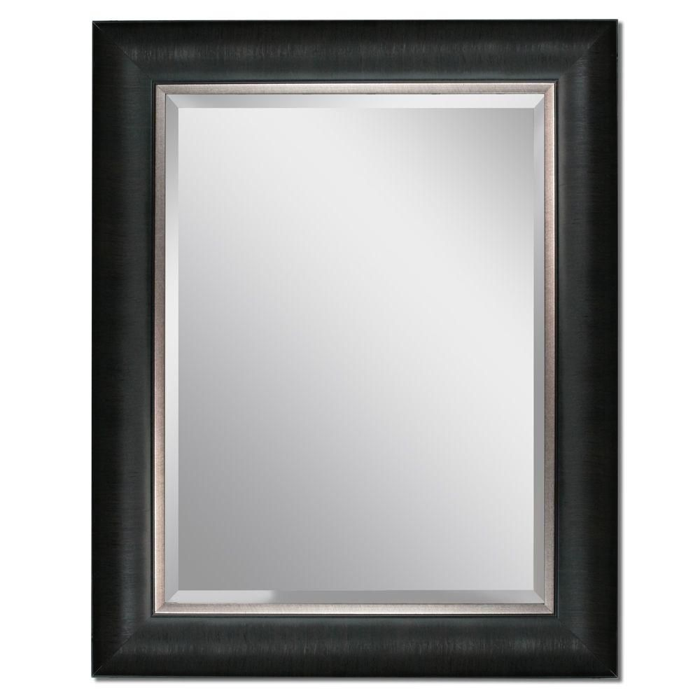 headwest 24 in x 30 in framed vanity mirror in black 8670 at the home depot guest bedroom. Black Bedroom Furniture Sets. Home Design Ideas