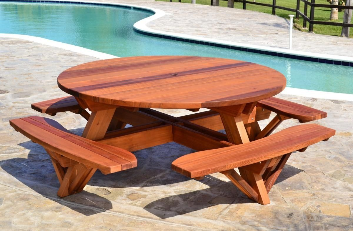 Round redwood picnic table plans argharts pinterest