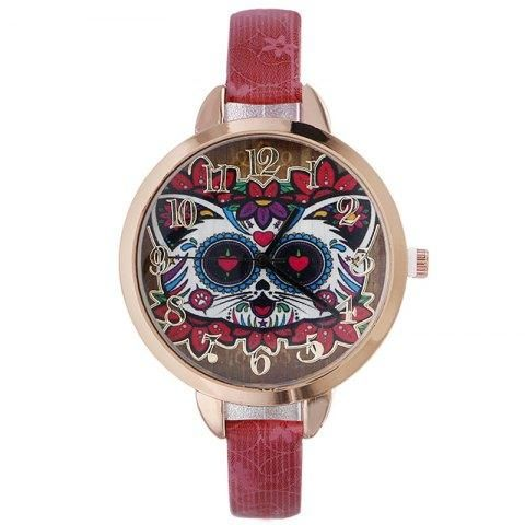 RoseGal.com - RoseGal Faux Leather Strap Flower Cat Number Watch - AdoreWe.com