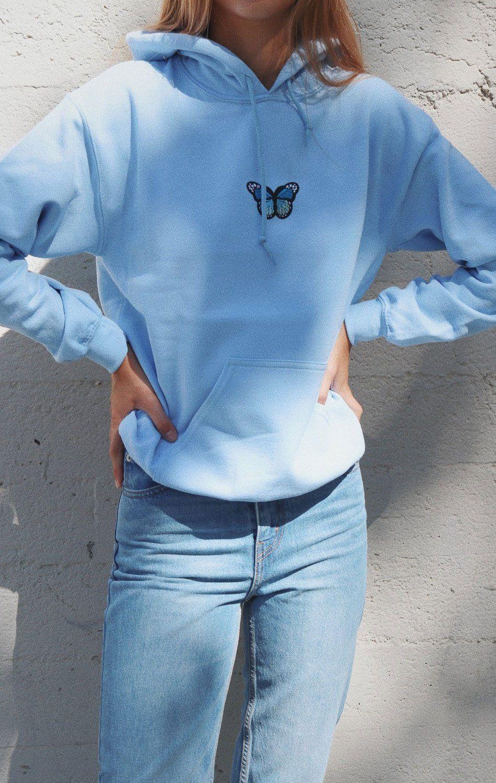 Butterfly Hoodie Light Blue Hoody Outfits Trendy Hoodies Aesthetic Hoodie [ 1500 x 950 Pixel ]