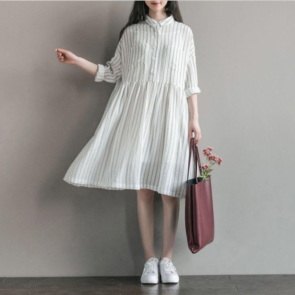 Fashion arts loose stripe lolita cute women long sleeve lapel shirt