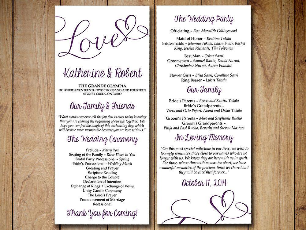Diy Wedding Program Template Eggplant Plum Purple Love Heart Printable Tea Le Diy Wedding Programs Wedding Programs Template Diy Wedding Program Template