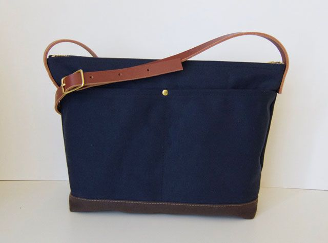 7446f03841 Modern Coup Waxed Canvas and Leather Satchel. Custom colour  midnight blue.