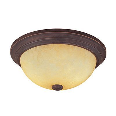 "Millennium Lighting 2 Light Flush Mount Finish: Rubbed Bronze, Shade Color: Turinian Scavo glass, Size: 5.5"" H x 13"" W"