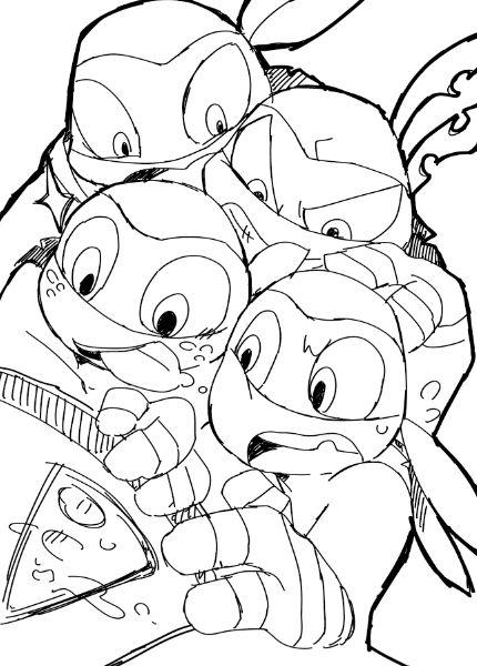 The Last Slice Tmnt 2012 Mikey Donnie Raph And Leo Ninja Turtles Art Tmnt 2012 Turtle Drawing