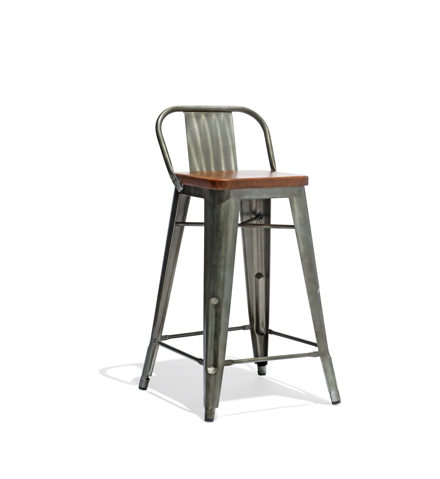 Low Back Counter Stool With A Wood Seat In 2020 Counter Stools