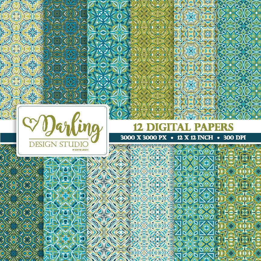Digital Scrapbook Papers Mosaic Patterns Blue Moroccan Digital Papers Moroccan Wallpaper Moroccan Textile Patterns Seamless Patterns