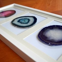 framing agate slices or rocks can be a fun way to display and add some natural