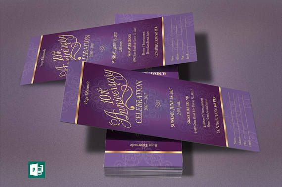 Purple Gold Church Anniversary Publisher Ticket Template Pinterest - Event ticket template publisher
