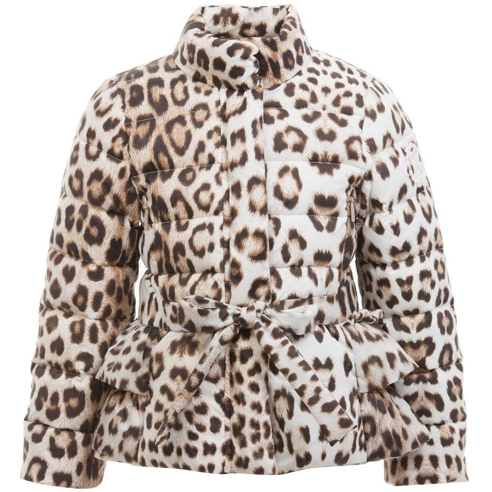 Girls Down Padded Leopard Print Puffer Jacket, Roberto Cavalli ...