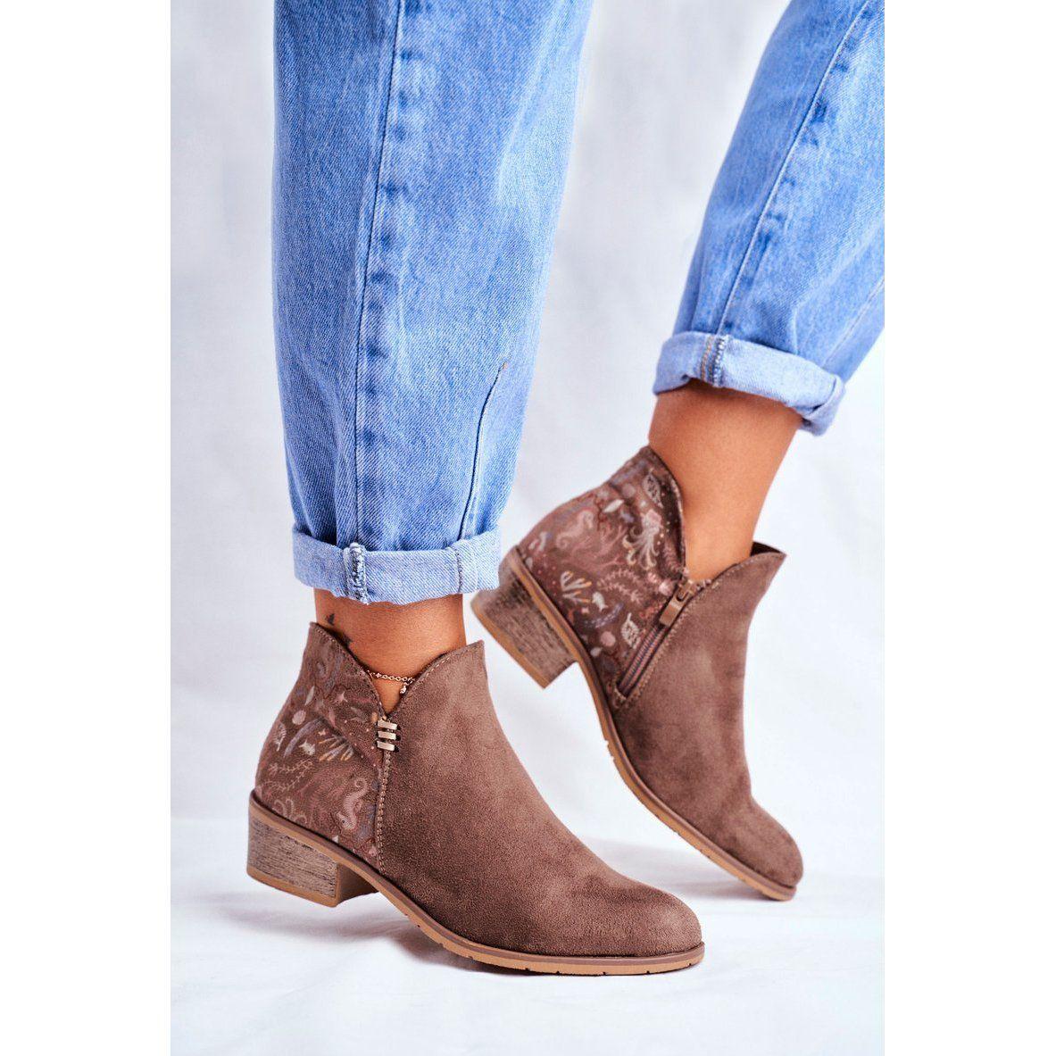 Botki Damskie Plaski Obcas Wiosenne Brazowe Elizabeth Ankle Boot Shoes Boots