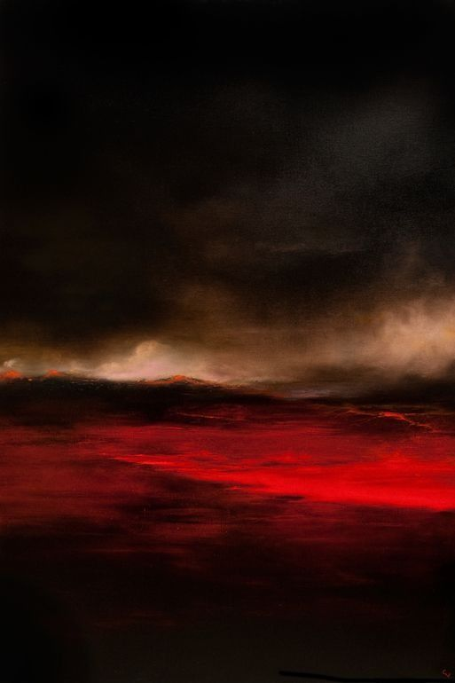 "Chris Veeneman; Oil 2013 Painting ""Lava Fields"""