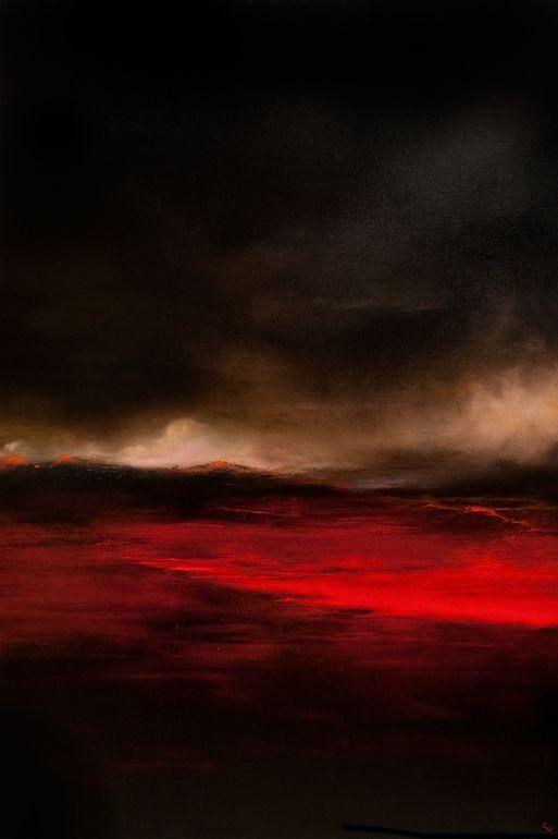 "Chris Veeneman; Oil 2013 Painting ""Lava Fields"""