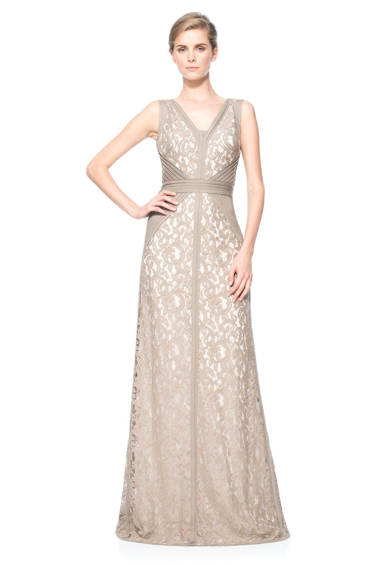 dd7520a96c4bf Lace V-Neck Gown with Pintuck Jersey Piping