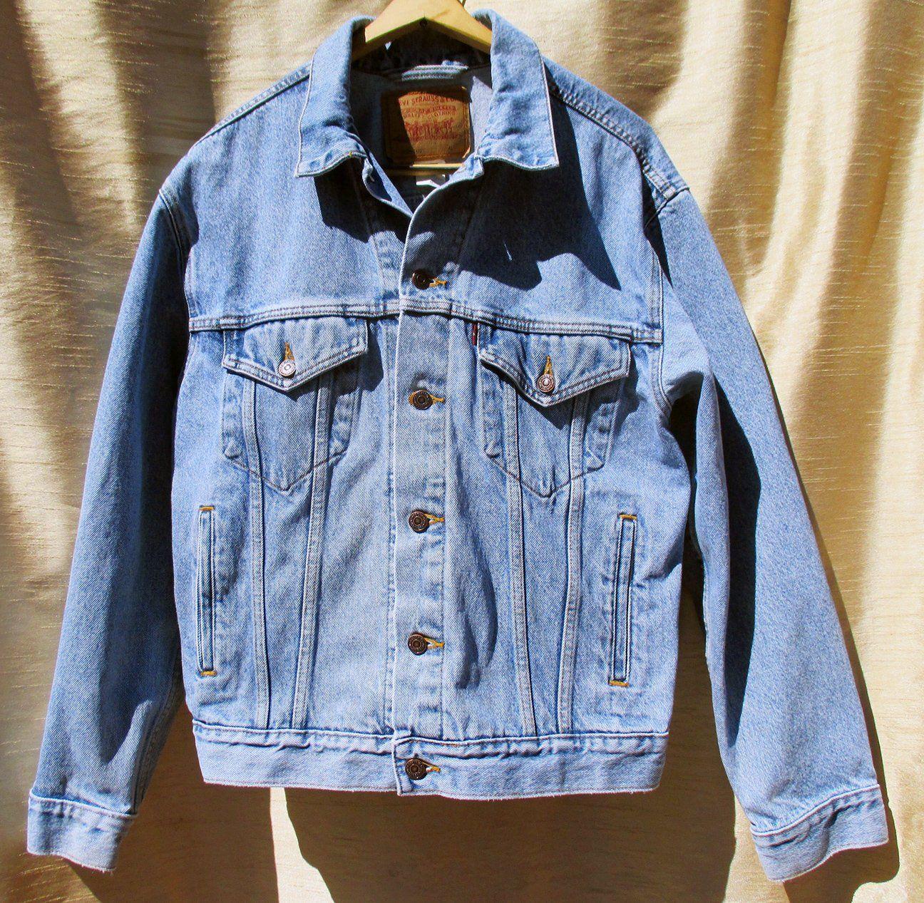 Men S M Classic Vintage 80s Red Tab Levi S Relaxed Etsy Blue Jean Jacket Streetwear Jackets Blue Denim [ 1267 x 1296 Pixel ]